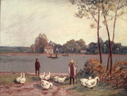 On The Banks of The Loing by Alfred Sisley