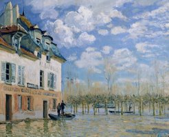 The Boat in The Flood, Port Marly by Alfred Sisley