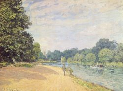 The Thames with Hampton Church by Alfred Sisley