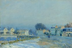 The Watering Pond at Marly with Hoarfrost (l'abreuvoir a Marly Gelee Blanche) by Alfred Sisley