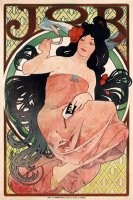 Art Nouveau Poster of Woman, Advertising Job Cigarette Papers by Alphonse Maria Mucha