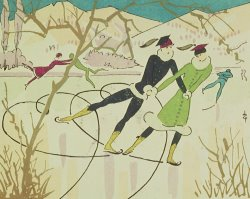 Figure Skating Christmas Card by American School