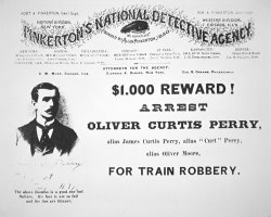 Reward poster for the arrest of Oliver Perry issued by American School