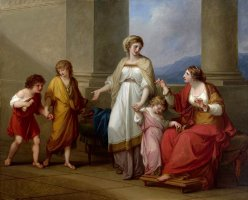 Cornelia, Mother of The Gracchi, Pointing to Her Children As Her Treasures by Angelica Kauffmann