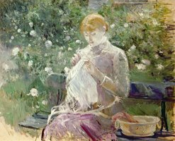 Pasie sewing in Bougivals Garden by Berthe Morisot