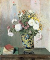 Chrysanthemums in a Chinese Vase by Camille Pissarro