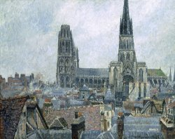 The Roofs of Old Rouen, Gray Weather by Camille Pissarro