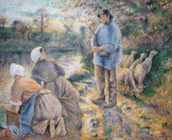 The Washerwomen by Camille Pissarro