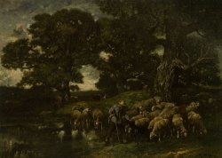 A Shepherd And His Flock by a Pond by Charles Emile Jacque