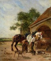 Attending to The Horses by Charles Emile Jacque
