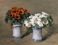 Red And White Flowers by Charles Emile Jacque