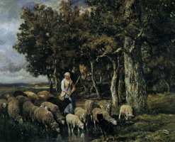 Shepherdess Watering Flock by Charles Emile Jacque