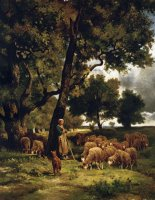 The Shepherdess And Her Flock by Charles Emile Jacque
