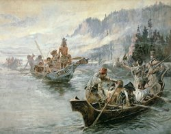 Lewis and Clark on the Lower Columbia River by Charles Marion Russell