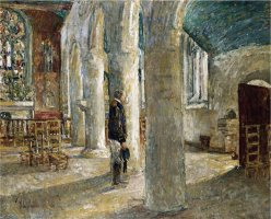 Church Interior Brittany 1897 by Childe Hassam