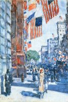 Flags Fifth Avenue by Childe Hassam