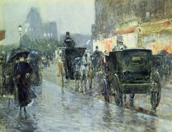 Horse Drawn Cabs at Evening in New York by Childe Hassam