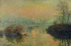 Sun Setting over the Seine at Lavacourt by Claude Monet