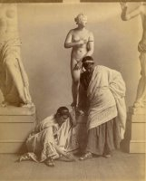 Two Male Students in Grecian Costume Before a Plaster Cast of Aphrodite in The Cast Room by Eadweard J. Muybridge