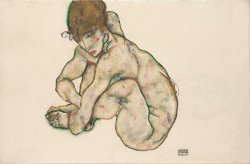 Crouching Nude Girl by Egon Schiele