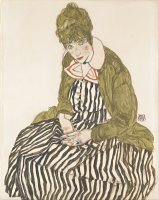 Edith with Striped Dress, Sitting by Egon Schiele