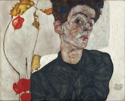 Self Portrait with Physalis by Egon Schiele