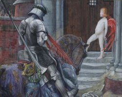 A Knight And Cupid Before a Castle Door by Eleanor Fortescue Brickdale