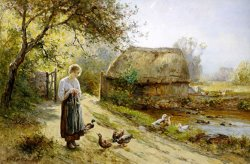 Bright Day by The River Feeding The Ducks by Ernest Walbourn