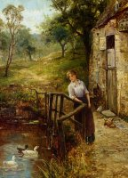 Young Lady at The Mill Pond by Ernest Walbourn