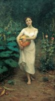 Kabak Tasiyan Genc Kiz , Young Girl Carrying a Pumpkin by Fausto Zonaro