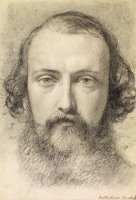 Portrait Head Study of Daniel Casey (full Face) by Ford Madox Brown