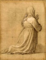 Woman Kneeling in Prayer, Seen From Behind (study for The Figure of St Catherine) by Fra Bartolomeo