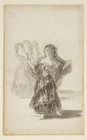 Two Majas Embracing (recto); Maja Parading Before Three Others (verso) by Francisco De Goya