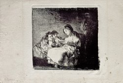Woman Reading to Two Children by Francisco De Goya
