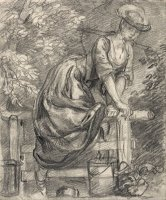 A Milkmaid Climbing a Stile by Gainsborough, Thomas