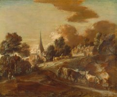 An Imaginary Wooded Village with Drovers And Cattle by Gainsborough, Thomas