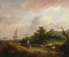 Coastal Landscape with a Shepherd And His Flock by Gainsborough, Thomas