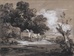 Wooded Landscape with Country Cart And Figures by Gainsborough, Thomas