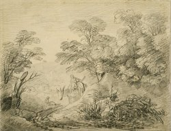 Wooded Landscape with Donkey And Figures by Gainsborough, Thomas