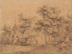 Wooded Landscape with Figures, Donkeys And Cottage by Gainsborough, Thomas