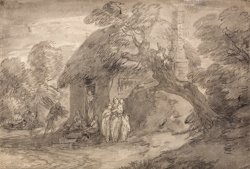 Wooded Landscape with Figures Outside a Cottage Door by Gainsborough, Thomas