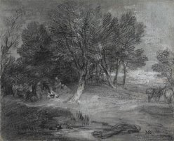 Wooded Landscape with Gypsy Encampment by Gainsborough, Thomas