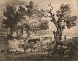 Wooded Landscape with Herdsman And Cows by Gainsborough, Thomas