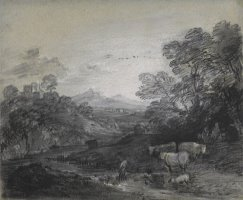 Wooded Landscape with Herdsmen And Cattle, Buildings on a Hill, And Rustic Lovers by Gainsborough, Thomas