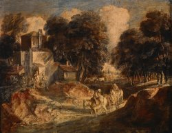Wooded Landscape with Mounted Peasants by Gainsborough, Thomas