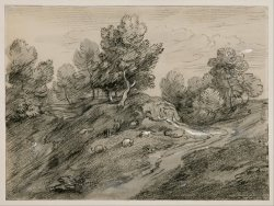 Wooded Upland Landscape with Shepherd And Sheep And Country Track Winding Around a Knoll by Gainsborough, Thomas