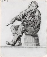 Fiddler (study for The Jolly Flatboatmen) (recto) by George Caleb Bingham