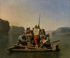 Lighter Relieving a Steamboat Aground by George Caleb Bingham