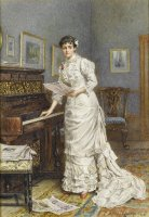 A Young Woman at a Piano by George Goodwin Kilburne