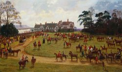 The Cheshire Hunt The Meet At Calveley Hall by George Goodwin Kilburne